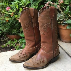 Women's Vintage Brown Leather Cowboy Boots Size 6